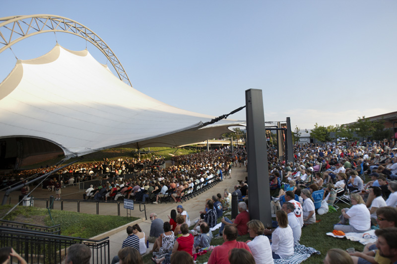 The Sprint Pavilion on the Charlottesville downtown mall during a concert with crowds enjoying the music