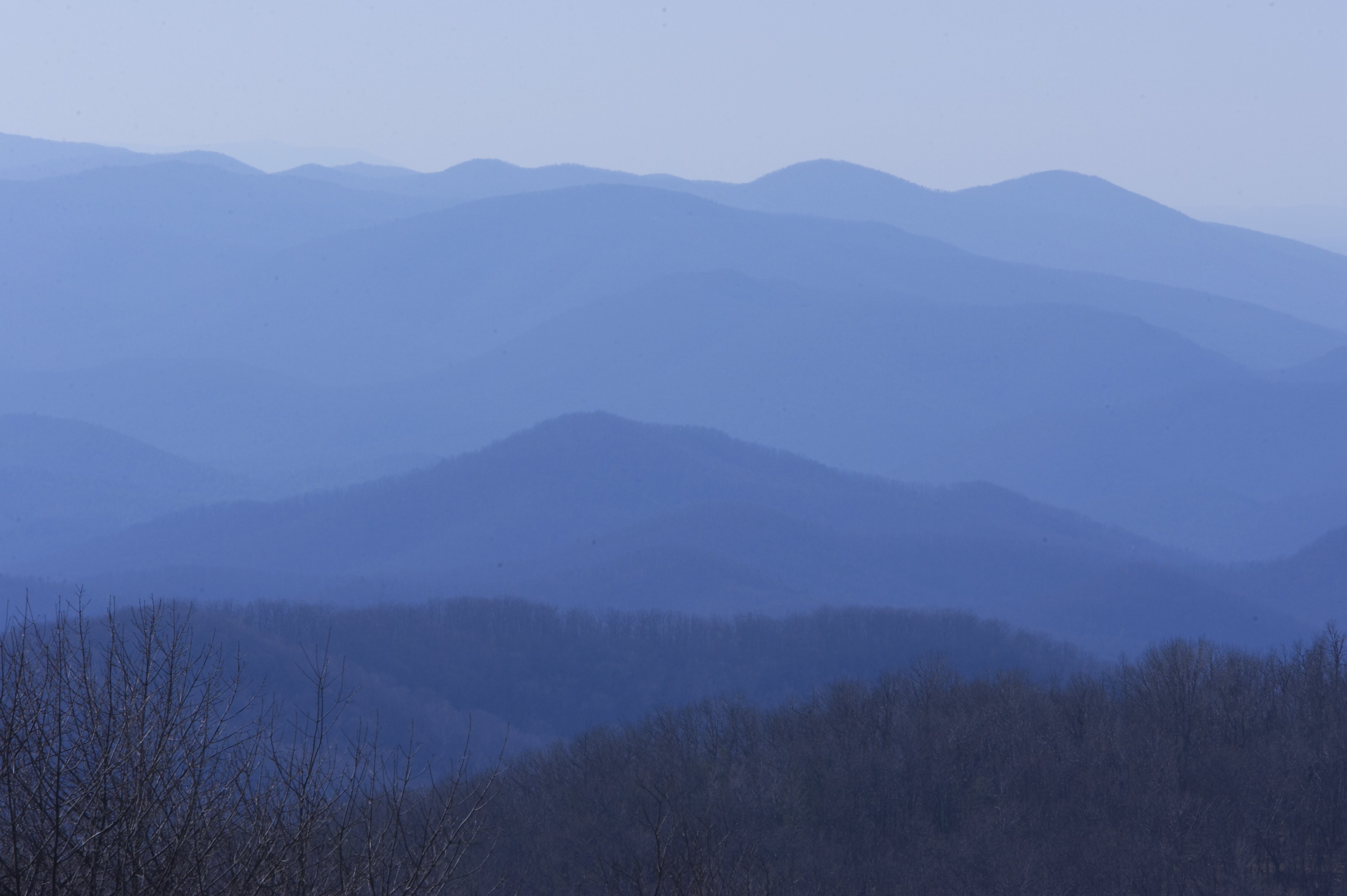 blue ridge mountain views with many shades of blue