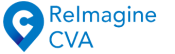 logo: reimagine cva in blue text with a location marker with a c in the middle