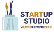 startup studio logo with paint brushes in water and text that says a business boot camp for artists