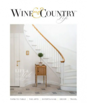 cover of wine and country magazine - white stair case with the wine and country logo